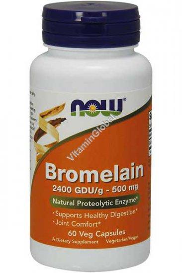 Bromelain 500 mg 60 Veg Capsules - Now Foods