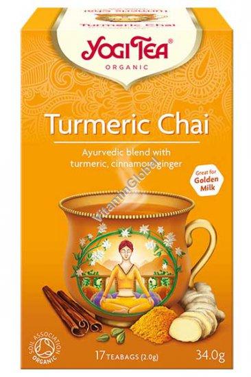 Turmeric Chai - Organic Ayurvedic Blend with Turmeric, Cinnamon, Ginger 17 teabags - Yogi Tea