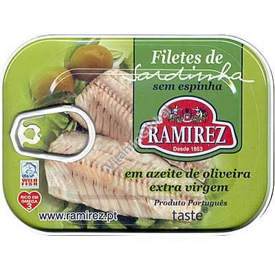 Boneless Portuguese Sardine Fillets In Extra Virgin Olive Oil 100g - Ramirez