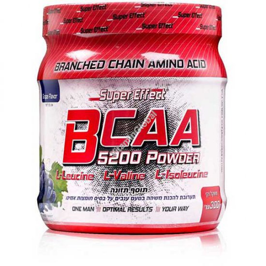 Kosher BCAA 5200 Powder Grape Flavor 300g - Super Effect