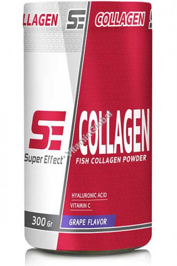 Fish Collagen Peptides with Hyaluronic Acid and Vitamin C, Grape Flavor 300g - Super Effect