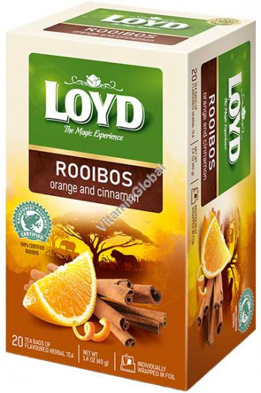 Rooibos Orange & Cinnamon Herbal Tea 20 tea bags - Loyd