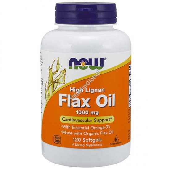 Flax Oil 1000 mg Cardiovascular Support 120 Softgels - NOW Foods
