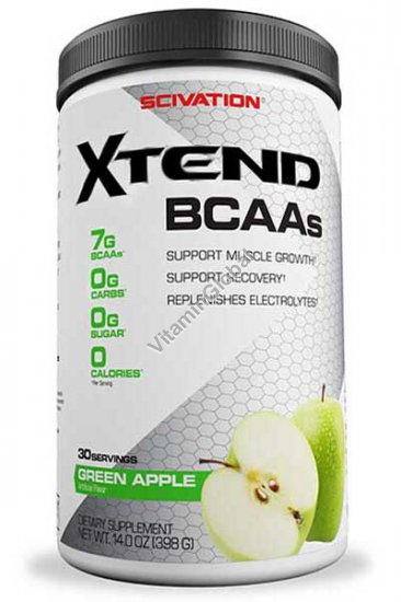 Xtend, BCAAs, Green Apple 14.0 oz (398g) - Scivation