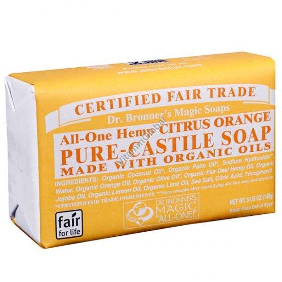 Hemp Citrus Orange Pure Castile Soap 140g (5 US OZ) - Dr. Bronner