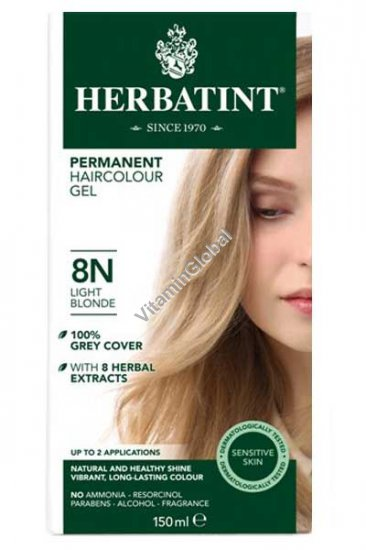 Permanent Herbal Haircolor Gel Light Blonde 8N - Herbatint