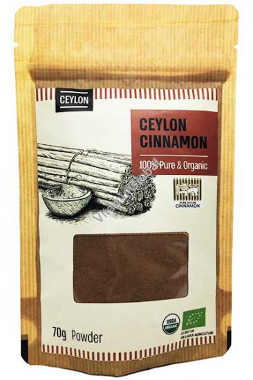 Organic & Pure Ceylon Cinnamon Powder 70g - Naturafood