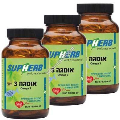 Kosher Omega-3 180 (3X60) Soft Gels - SupHerb