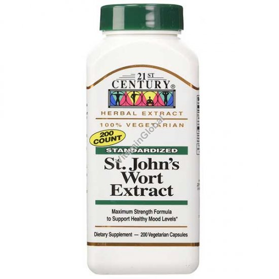 Standardized St. John\'s Wort Extract 300mg 200 Vcaps - 21st. Century
