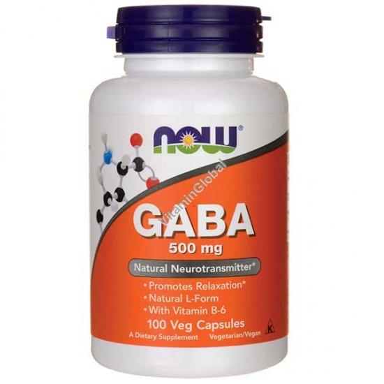 GABA 500 mg 100 Veg Capsules - NOW Foods