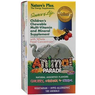 "Children\'s Chewable Multi-Vitamins ""Animal Parade"" Assorted Flavors 180 animals - Nature\'s Plus"