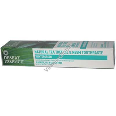 Natural Tea Tree Oil and Neem Toothpaste Wintergreen 176g - Desert Essence