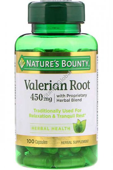 Valerian Root Plus Calming Blend 450 mg 100 Caps - Nature\'s Bounty