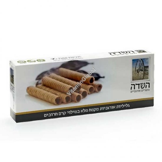 Organic Whole Wheat Wafer Rolls with Carob Cream Filling 100g - HaSade