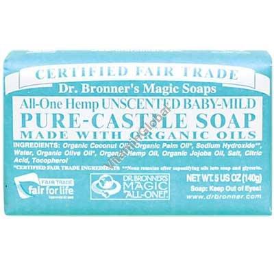 Hemp Unscented Baby-Mild Pure Castile Soap 140g (5 US OZ) - Dr. Bronner