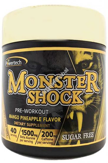 Monster Shock - Kosher Badatz Pre-Workout Mango Pinneapple Flavor 7.76 oz (220g) - PowerTech