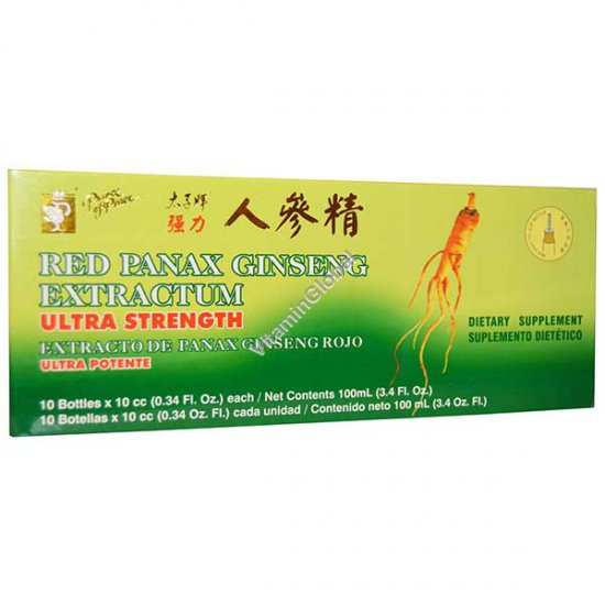 Chinese Red Panax Ginseng Extractum 10 ampoules X 10ml - Prince of Peace
