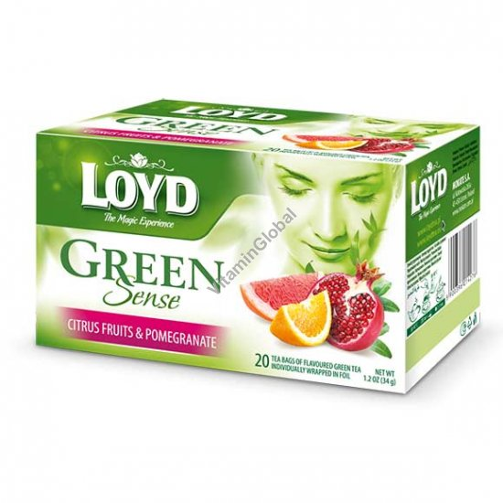 Green Tea with Citrus Fruits & Pomegranate 20 tea bags - Loyd