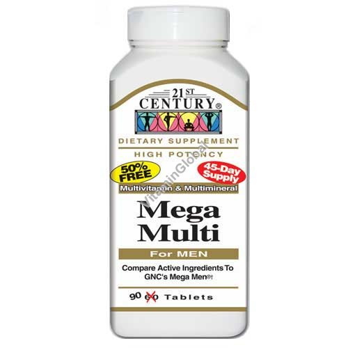 Multivitamin Mega Multi for men 90 tablets - 21st Century