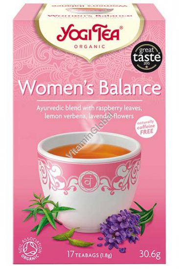 Women\'s Balance - Organic Ayurvedic Blend with Raspberry Leaves, Lemon Verbena, Lavender Flowers 17 teabags - Yogi Tea