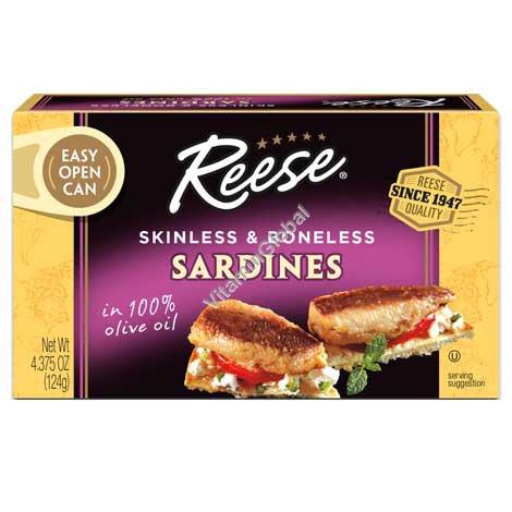 Skinless & Boneless Sardines In 100% Olive Oil 124g (4.4 OZ) - Reese