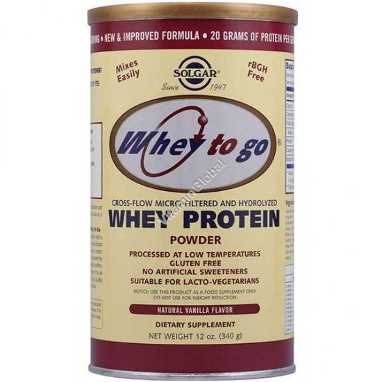 Whey to go - Micro-Filtered Whey Protein Powder Vanilla 340g (12 oz.) - Solgar