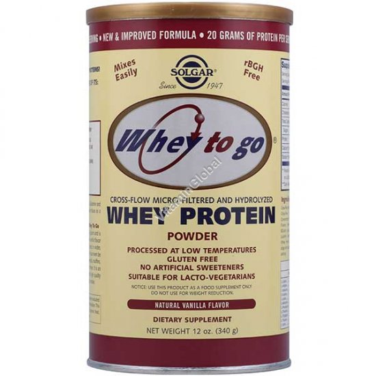Whey to go - Whey Protein Powder Vanilla 340g (12 oz.) - Solgar