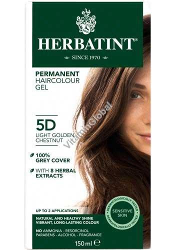 Permanent Hair Color 5D Light Golden Chestnut - Herbatint