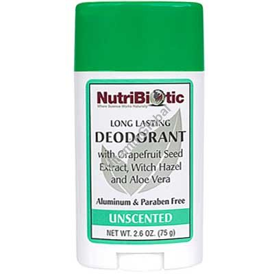 Natural Long Lasting Deodorant Stick, Unscented 75g - NutriBiotic