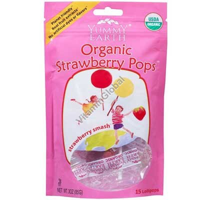Organic Strawberry Pops 85g (14 Lollipops) - Yummy Earth