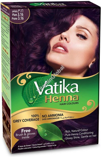 Henna Hair Colours Plum 60g (6 sachets of 10g each) - Vatika