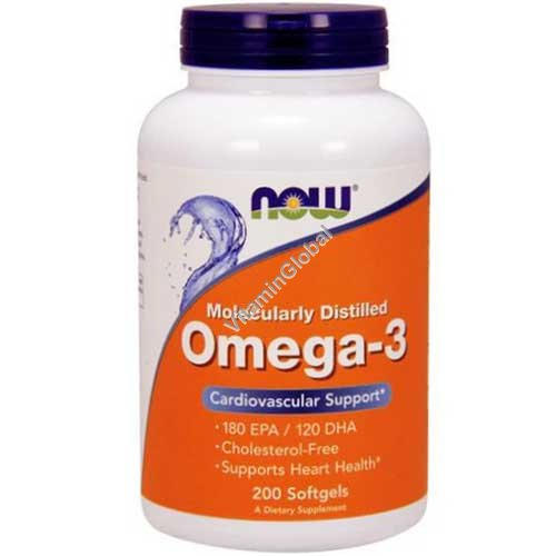 Omega 3 1000mg Fish Oil 200 Softgels - Now Foods