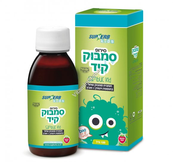 Sambuc Kid Syrup - Standardized Black Elderberry Extract, Zinc and Vitamin C 125 ml - SupHerb