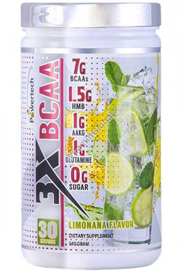 BCAA Powder Limonana (Mint-Lemonade) Flavor 340g (12 oz)) - PowerTech