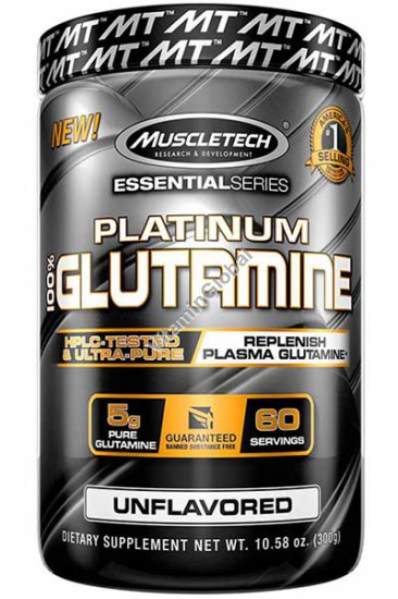 Platinum Glutamine Powder, Unflavored, 10.58 oz (300 g) - MuscleTech