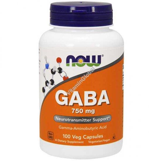 GABA 750 mg 100 Veg Capsules - NOW Foods