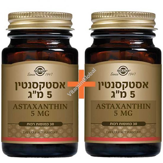 Natural Astaxanthin 5mg 60 (30+30) softgels - Solgar