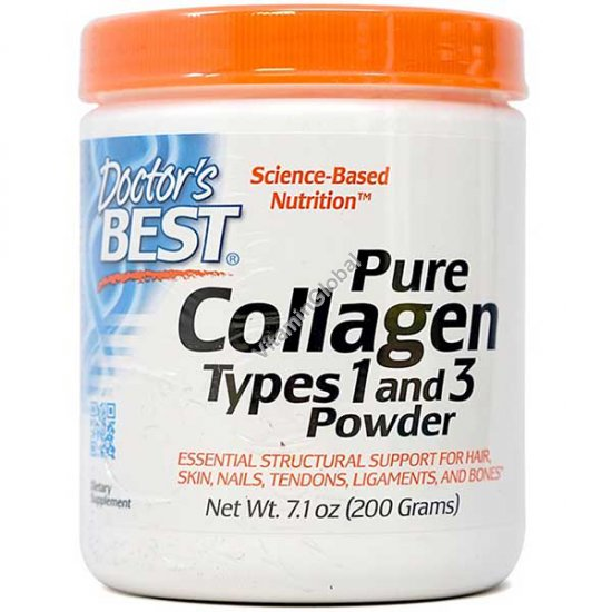 Pure Collagen Powder Types 1 and 3 200g (7.1 oz) - Doctor\'s Best