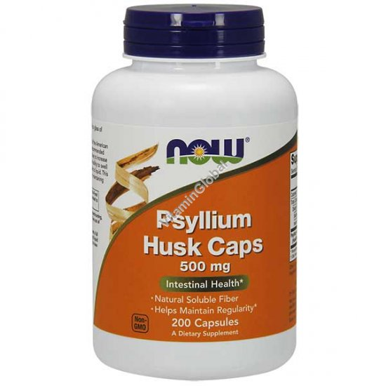 Psyllium Husk 500 mg 200 Veg Capsules - NOW Foods