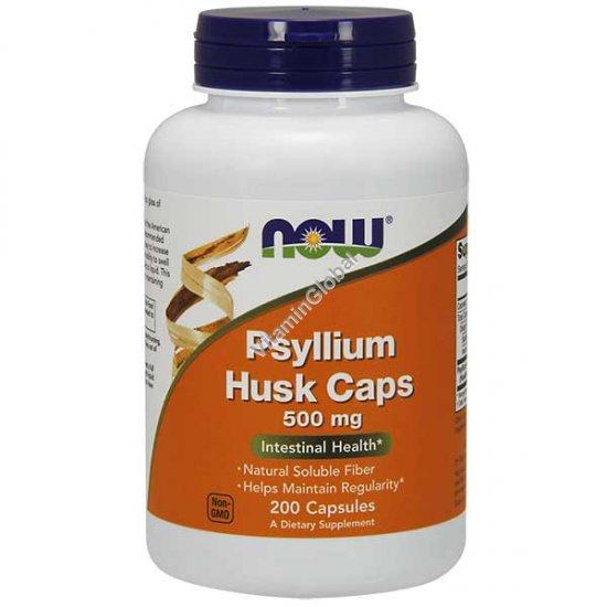 Psyllium Husk 500 mg 200 Veg Capsules - NOW Foods