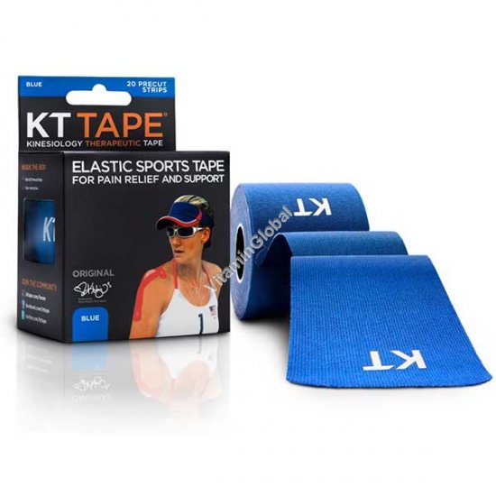 Kinesiology Elastic Sports Tape for Pain Relief and Support (Blue) 20 Strips - KT Tape