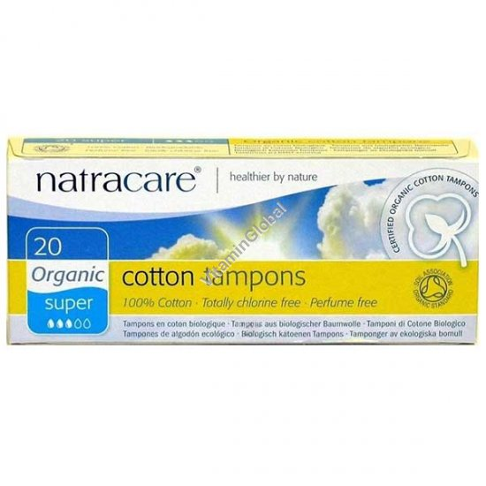 Organic Cotton Tampons, Super 20 Count - Natracare