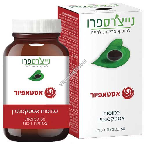 AstaPure - Kosher Badatz Natural Astaxanthin 4mg 60 Vegetarian Softgels - Nature\'s Pro