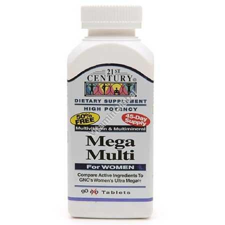 Multivitamin Mega Multi for Women 90 tablets - 21st Century