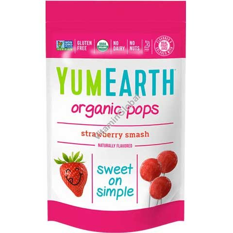 Organic Strawberry Lollipops 85g (14 Lollipops) - YumEarth