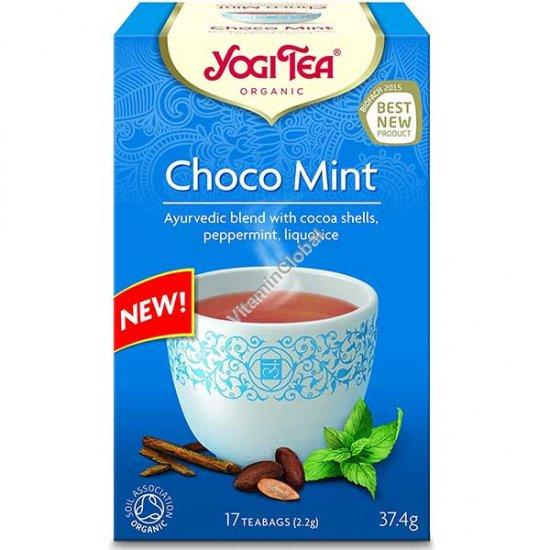 Choco Mint - Organic Ayurvedic Blend with Cocoa Shells, Peppermint, Liquorice 17 teabags - Yogi Tea