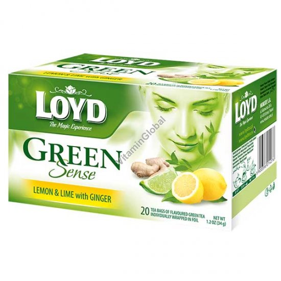 Green Tea with Lemon, Lime and Ginger 20 tea bags - Loyd