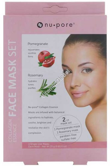 Collagen Essence Face Mask Set (Pomegranate & Rosemary) - Nu-Pore