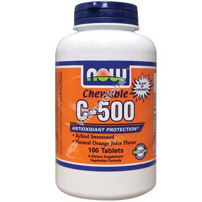 Chewable Vitamin C-500 Orange 100 Tablets - Now Foods