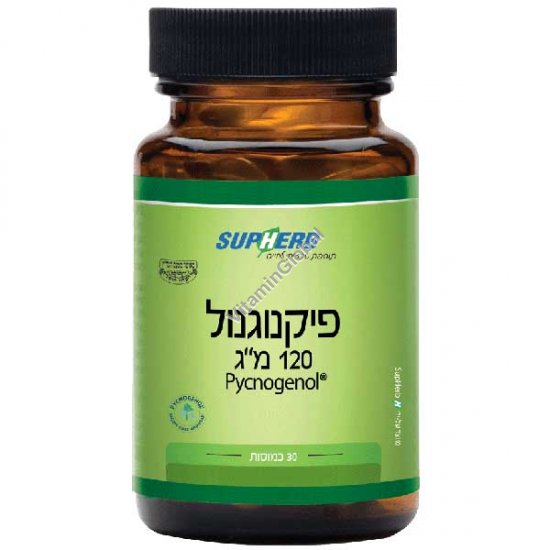 Kosher L\'Mehadrin Pycnogenol 120 mg for Young, Fresh and Healthy Looking Skin 30 capsules - SupHerb